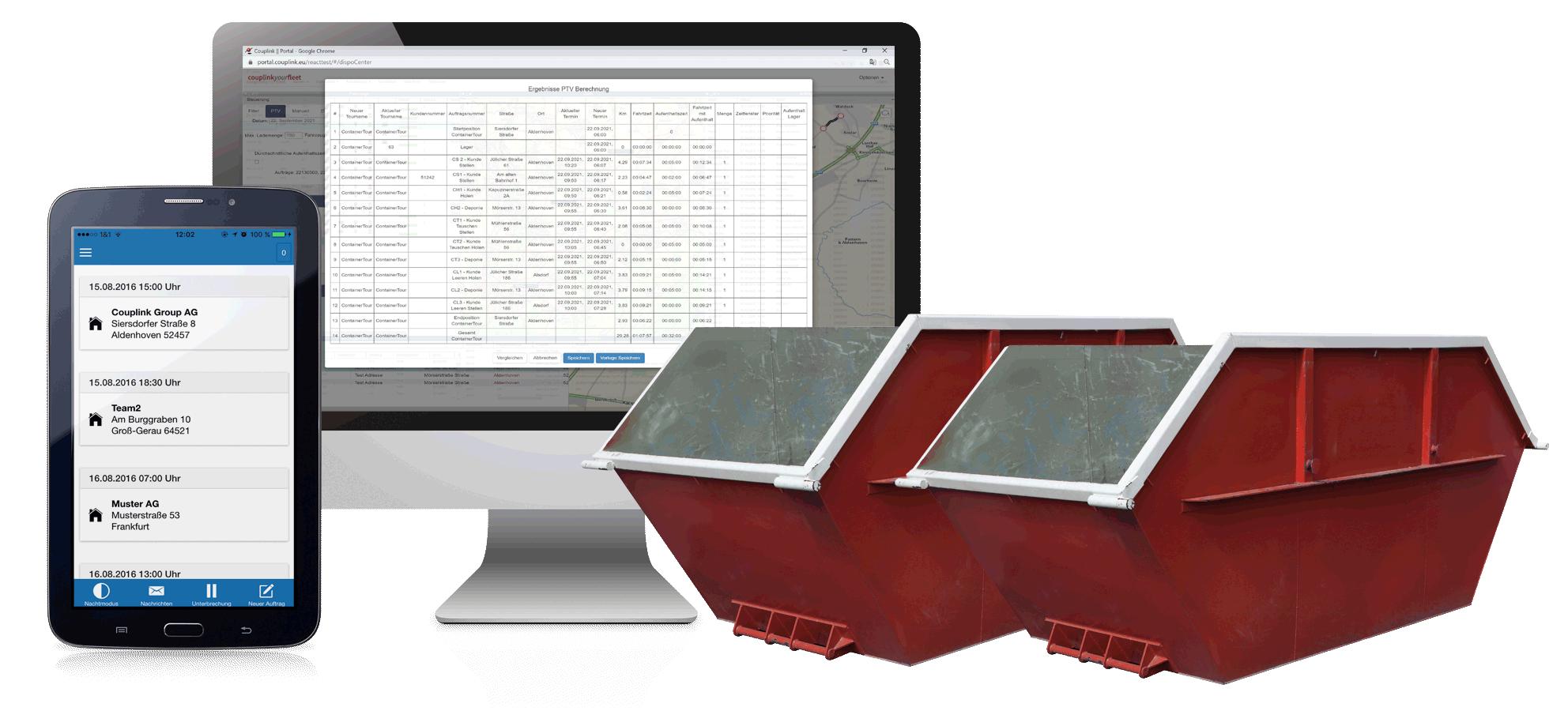 Container-Tourenoptimierung für Entsorger